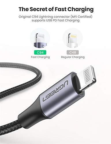 UGREEN USB C auf Lightning Kabel MFi Zertifiziert Power Delivery Ladekabel Lightning USB Typ C kompatibel mit iPhone 12, 12 Pro, 11, 11 Pro, XR, XS, X, iPad 2020, AirPods Pro, AirPods Max (1M)