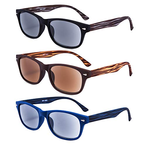 EYEGUARD 3 Pack Unisex Classic of Style Sunglasses Readers Outdoor Reading Glasses for Men and Women 2.00 - Not Bifocals