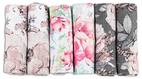 Mulltücher - Mullwindeln - 6er Pack 70x80 cm - Stoffwindeln, MADE IN EU, schadstoffgeprüft - Spucktücher Set für Mädchen – Baby Mullwindeln- Rosa- Blumen - OEKO-TEX zertifiziert