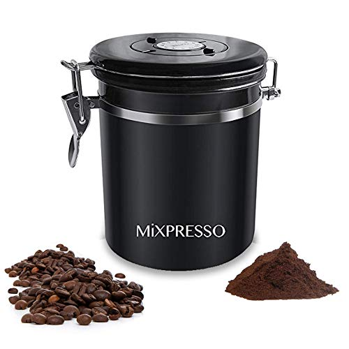 Mixpresso Stainless Steel Airtight Coffee Container with Date Tracking I For All Types Of Coffee   Vacuum Sealed Airtight Container   stainless steel coffee jar 16 Ounces I Coffee Vault (Black)