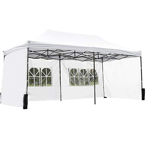 FDW Pop Up Canopy 10x20 pop up Canopy Tent Party Tent Folding Protable Ez up Canopy Sun Shade Wedding Instant Better Air Circulation Outdoor Gazebo with Backpack Bag
