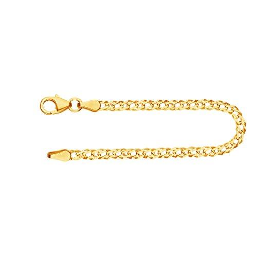 Feines Armband Damen Herren Echt Gold 2.9 mm, Zwillingspanzerkette aus 585 Gelbgold, Goldarmband mit Stempel und Karabinerverschluss mit Schlaufe, Länge 19 cm, Gewicht ca. 2.4 g, Made in Germany