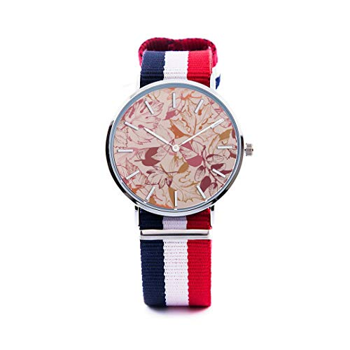 Unisex Fashion Watch Abstract Background Maple Leaf Aspen Leaf Pumpkin Autumn Design Print Dial Quartz Stainless Steel Wrist Watch with Nylon NATO Strap Watchband for Women 36mm Casual Watch -  NQEONR, 20190321-NylonWatch-339-1180847323
