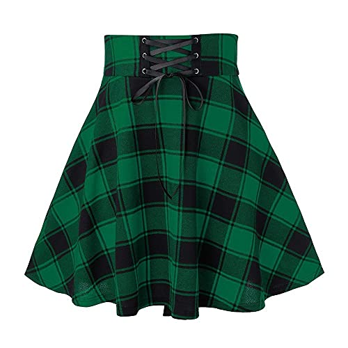 N\P Cuadros Impreso Faldas Plisadas Cintura Alta Encaje Patchwork Vendaje Gótico Mini Falda Mujeres Delgado Fiesta Desgaste Faldas