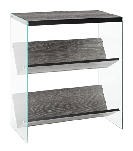 Convenience Concepts SoHo Bookcase, Weathered Gray / Glass