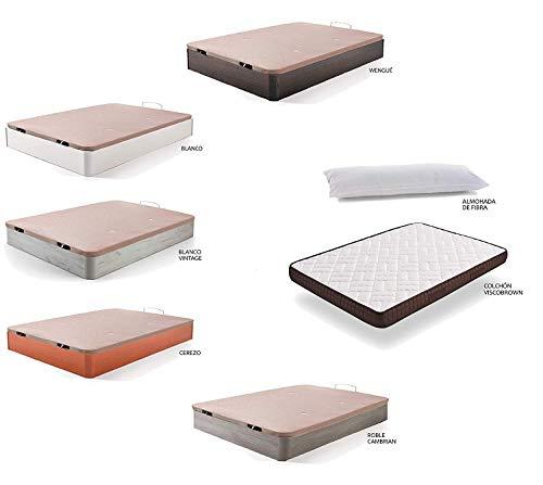 HOGAR24 ES Cama Completa - Colchón Viscobrown Reversible + Canape Abatible de Madera Color Blanco Vintage + Almohada de Fibra, 90x190 cm