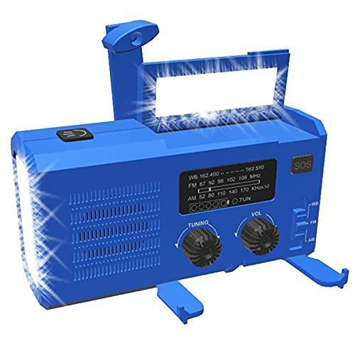 Radio Solar Dinamo, Manivela Radio,Radio De Emergencia Portátil Am/FM/WB,Banco De Energía De 4000 MAh Batería Recargable USB, LED Flashlight,Luz Leer,SOS Alarm,Resistente Al Agua (Color : Blue)