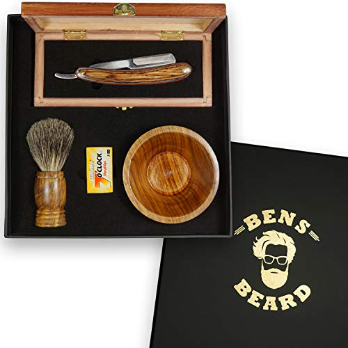 Straight razor kit for men with replaceable blades with shaving brush made of pure badger hair, cutthroat razor with blades and shaving bowl in gift set. Premium handmade barber tools set for grooming