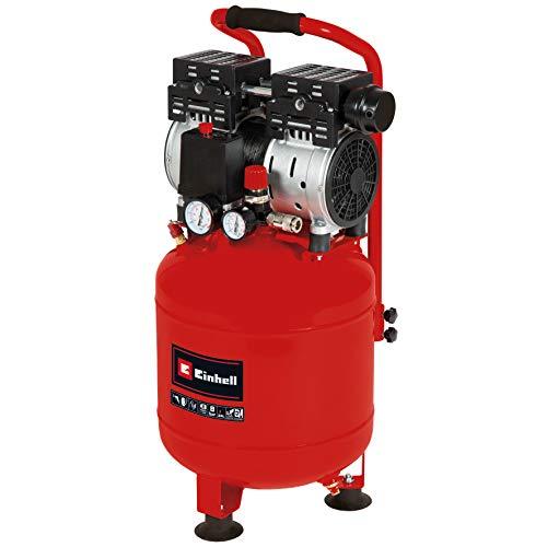 Einhell Compresor TE-AC 24 Silent (compresor silencioso con 750 W, máx. 8 bar, motor exento de aceite y servicio, depósito de 24 l, manómetro y acoplamiento rápido, válvula de seguridad)