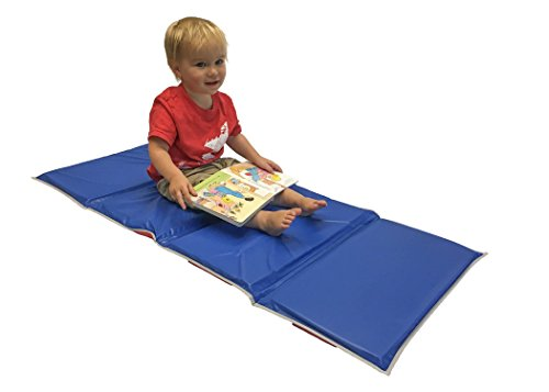 KinderMat, 5/8' Thick, 4-Section Rest Mat, 45' x 19' x 5/8', Red/Blue with Grey Binding, Great for...