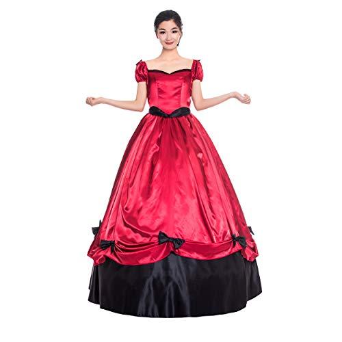 Vestido Southern Bell da Guerra Civil do Século XIX / vestidos de festa / vestidos vitorianos, Vermelho 2, M