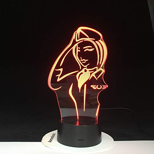 Police Women Lampada 3D Lampada da tavolo LED in acrilico LED USB Lampada da tavolo Lampadina multicolore