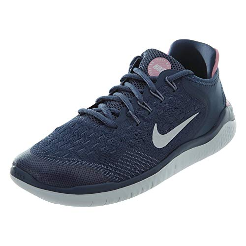 Nike Damen Mädchen Free Run 2018 (GS) Laufschuhe, Mehrfarbig (Diffused Blue/White/Ashen Slate/Pink 402), 36.5 EU