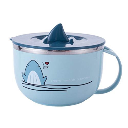 Cabilock 1000 ML Instant Noodle Bowls Stainless Steel Cartoon Shark Cereal Bowls Salad Rice Container Bowl for Dessert Vegetables Fruit (Blue)