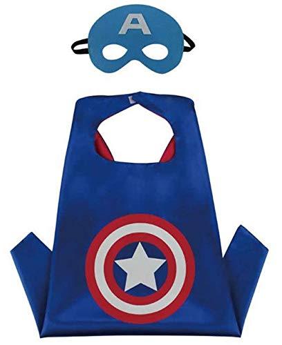 HOUSE CLOUD Traje de superhéroes para niños–Regalo de Cumpleaños–Trajes de Carnaval–1Capa y máscaras–Logo–Juguetes para niños y Niñas Capitán América Flash y Ironman