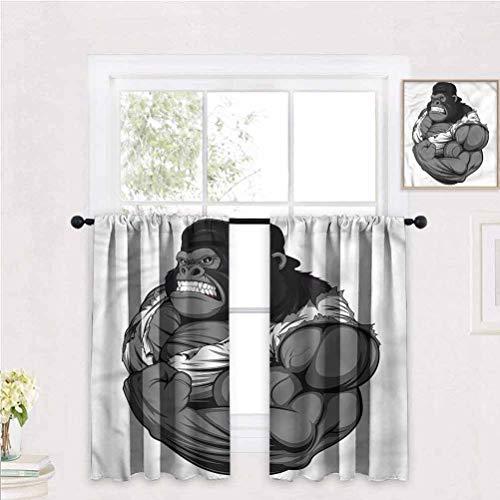 Room Darkening Blackout Curtains W 47' x H 63' for Living Room, Dining Room, Bedroom, Cartoon,Animal Athlete Gorilla