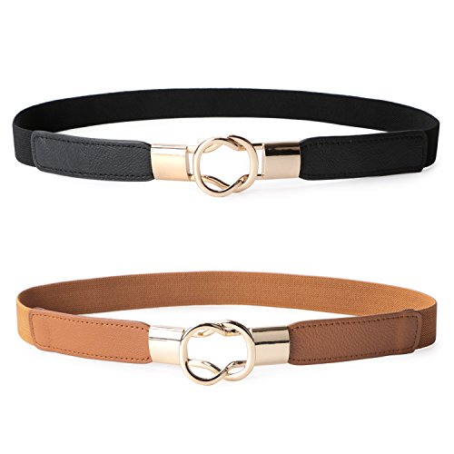 JASGOOD 2 Pack Women Retro Elastic Stretchy Metal Buckle Skinny Waist Belt 1 inch Wide,Black+Brown,FIts Waist 25-31 Inches