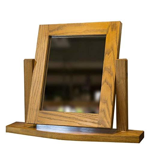 JJJJD Espejo europeo de escritorio espejo de maquillaje simple de madera sólida espejo de maquillaje portátil de madera de escritorio espejo plegable de alta definición de belleza espejo