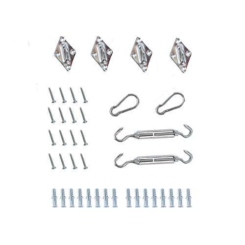Allein 40 piezas Accesorio para toldo, soporte de pared para toldo, tensor de acero inoxidable, mosquetón, soporte de pared, tornillo y extensión de plástico