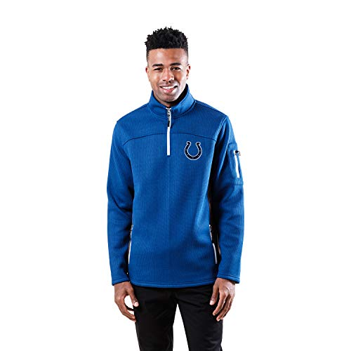 Ultra Game NFL Indianapolis Colts Mens Quarter-Zip Fleece Pullover Sweatshirt with Zipper Pockets, Blue, X-Large