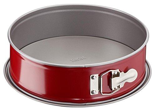Tefal Delibake J16411 Molde tarta redondo 19 cm, forma redonda desmontable y con gran fondo, revestimiento antiadherente, fácil desmonte, de acero al carbono, con grosor 18/10, rojo