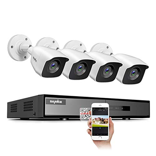 SANNCE 8CH 1080N home Surveillance Camera System and (4) 1080P TVI Weatherproof CCTV Cameras, Infrared Superior Night Vision, P2P & QR Code Scan Remote Access, Wired Security Camera System (NO HDD)