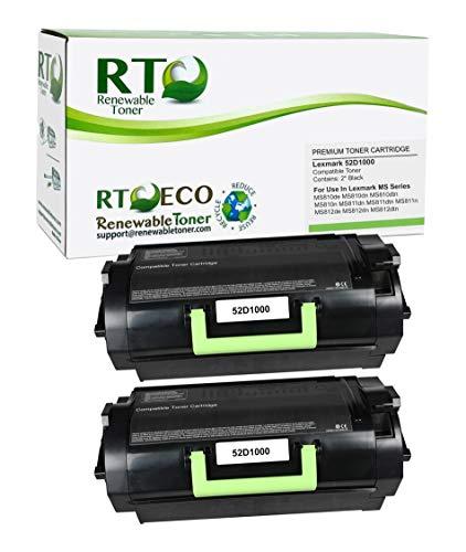 Renewable Toner Compatible Toner Cartridge Replacement for Lexmark 521 52D1000 MS Series MS810 MS811 MS812 (Black, 2-Pack)