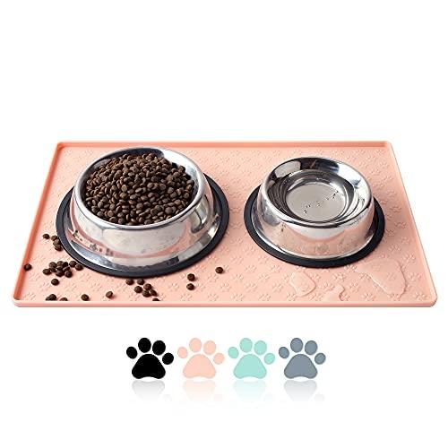 Coomazy Katzen- und Hundefuttermatten Katzenfutter Tablett Matte Wasserabweisende Napfunterlage aus Silikon, Unterlage für Haustierfutter (M: 48x30cm, Rosa)