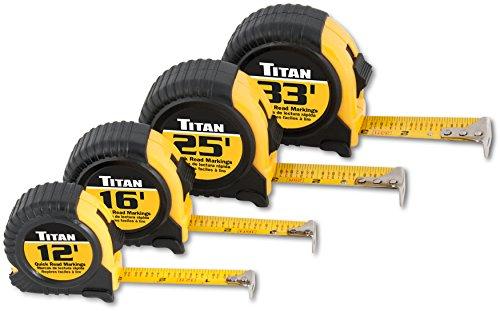 Titan 10902 4-Piece Tape Measure Set (12', 16', 25' and 33')