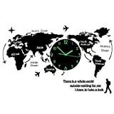 TXXM Weltkarte Uhr Wand wanduhr modern Wohnzimmer große wanduhren wanduhr 3D Weltkarte groß L74CM * H34CM (Farbe : Schrift Leuchtend)