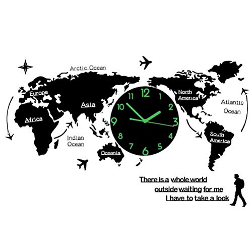 TXXM® Weltkarte Uhr Wand wanduhr modern Wohnzimmer große wanduhren wanduhr 3D Weltkarte groß L74CM * H34CM (Farbe : Schrift Leuchtend)