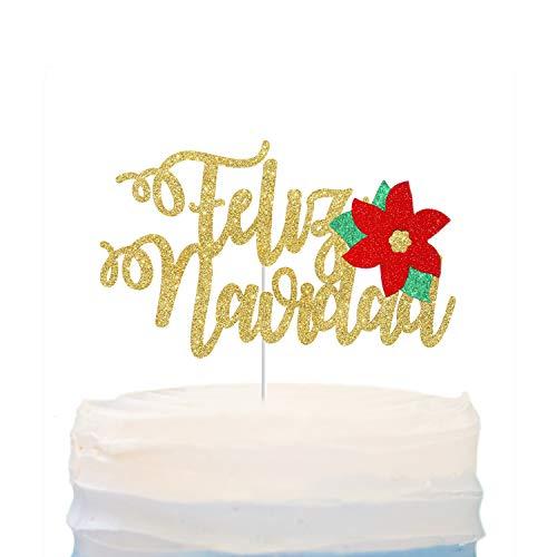 Feliz Navidad Cake Topper ,Merry Christmas ,Happy Birthday Jesus Cake Decor,Spanish Merry X'mas Party Decor