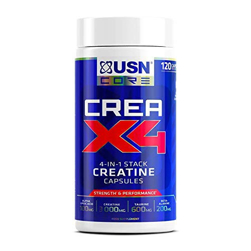 USN Creatine X4 Lean Muscle and Strength Capsules, Tub of 120