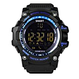 EX16 Sports Watch Bluetooth Smartwatch IP67 Waterproof Luminous Dial One-Year Long Standby Fitness Tracker Remote Camera for Android and iOS Blue