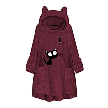 NANTE Top Loose Women s Blouse Fleece Embroidery Cat Ear Sweater with Pocket Hoodie Sweatshirt Pullover Coat Tops Plus Size Clothing  Wine XL