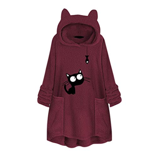 NANTE Top Loose Women s Blouse Fleece Embroidery Cat Ear Sweater with Pocket Hoodie Sweatshirt Pullover Coat Tops Plus Size Clothing (Wine  M)