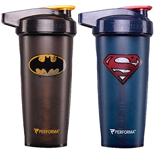 PerfectShaker Performa ACTIV DC Comics & Justice League Series Shaker Bottle, Best Leak Free Bottle with ActionRod Mixing Technology for Your Sports & Fitness Needs! (28oz, Batman/Superman)