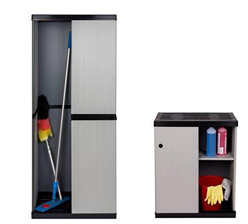 """Set: Hoher + Mittlerer Kunststoffschrank""""SLIDE"""" mit spritzwassergeschützter Deckel- & Bodenplatte, Schiebetüren, Einlegeböden sowie Freifach für sperrige Gegenstände. Für Innen- und Außenbereiche."""