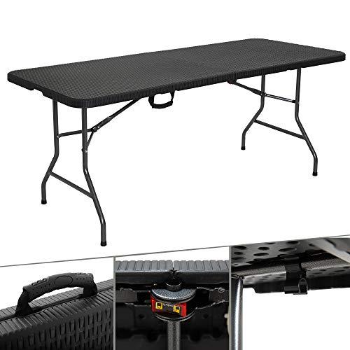Arebos Buffettisch Tisch klappbar 180 x 75 x 74 cm in Rattan Optik Campingtisch Partytisch Klapptisch Gartentisch für Garten Terrasse und Balkon zusammenklappbar 6 Personen Ink. Tragegriff