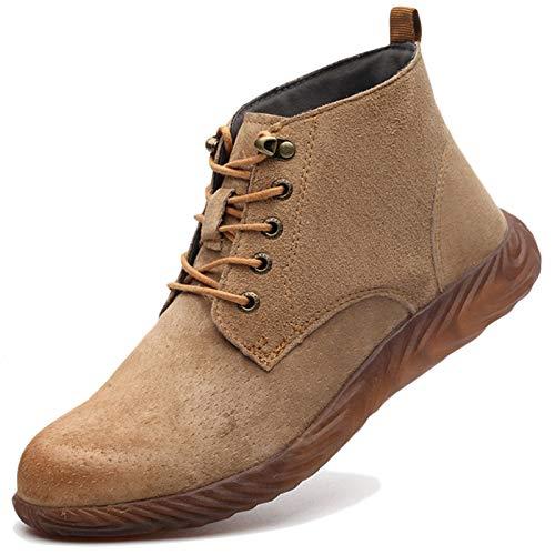 Koyike Calzado de Trabajo antigolpes para Hombre Calzado de Seguridad con Punta de Acero Calzado de Senderismo Resistente al Desgaste Indestructible,Yellow-41