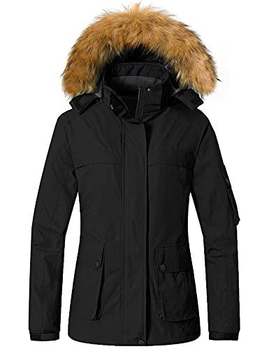 Wantdo Women's Waterproof Ski Jacket Warm Snow Coat with Removable Hood Black XL