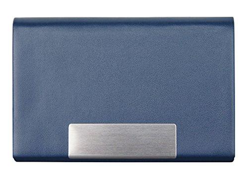 Fundas para Tarjetas de Visita K.DESIGNS (Azul) : de Piel sintética, Acero Inoxidable Cepillado, Cierre magnético | portatarjetas | Estuche para Tarjetas de Visita