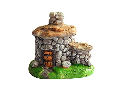 Niedliche Miniatur Moss Mikrolandschaft Haus aus Stein, Dekoration für den Außenbereich des Gartens, Geschenkidee grüne Pflanze (grau)