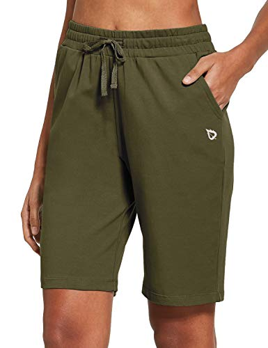 BALEAF Women's Bermuda Shorts Long Cotton Jersey with Pockets Athletic Sweat Walking Knee Length for Summer Workout Olive Green Size M