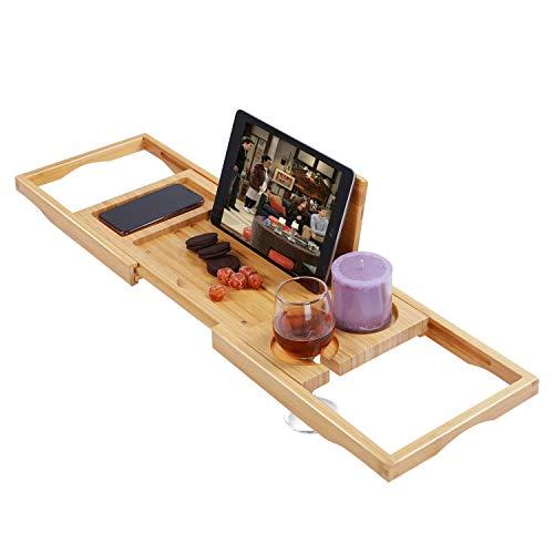 Utoplike Bamboo Bathtub Caddy Tray Bath Tray for Tub, Adjustable Bathroom Bathtub Organizer with Book Tablet Wine Glass Cup Towel Holder,Distinctive...