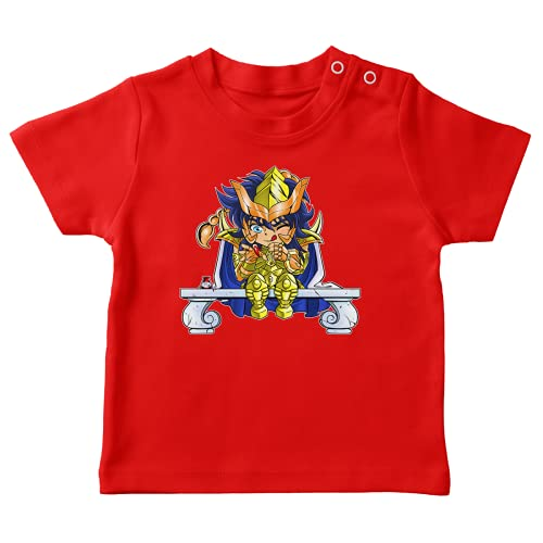 OKIWOKI Saint Seiya Lustiges Rot Baby T-Shirt - Gold Saint Scorpio Milo (Saint Seiya Parodie signiert Hochwertiges T-shirt in Größe 24 monate - Ref : 492)