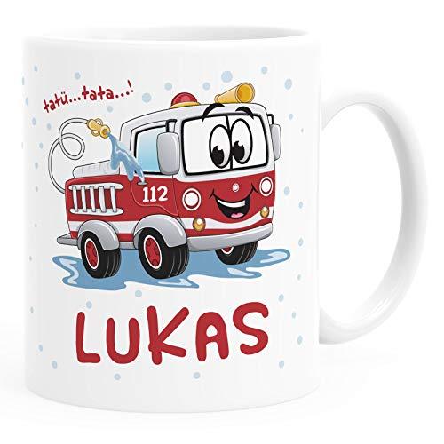 SpecialMe® Kinder-Tasse Kunststoff Baby Motiv Personalisiert Feuerwehrauto personalisierte Namenstasse weiß Kunstoff-Tasse