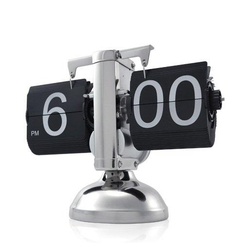 Retrouhr - Retrotischuhr mit Klappzahlen - Klappziffern im edlen Design aus Metall