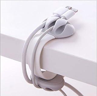 巻き取り式 ケーブルクリップ USBケーブル 卓上ホルダー Aiueo 猫爪型 万能クリップ コードクリップ ケーブル類整理 配線アクセサリーホルダー リール式收納 3本固定 クリップ式 取外自由 S型白色 両面挿し 厚薄兼用 各種対応