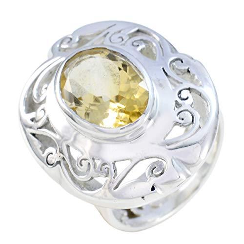 joyas plata piedra preciosa natural forma ovalada una piedra anillo citrino facetado - anillo citrino amarillo plata esterlina - nacimiento de junio géminis
